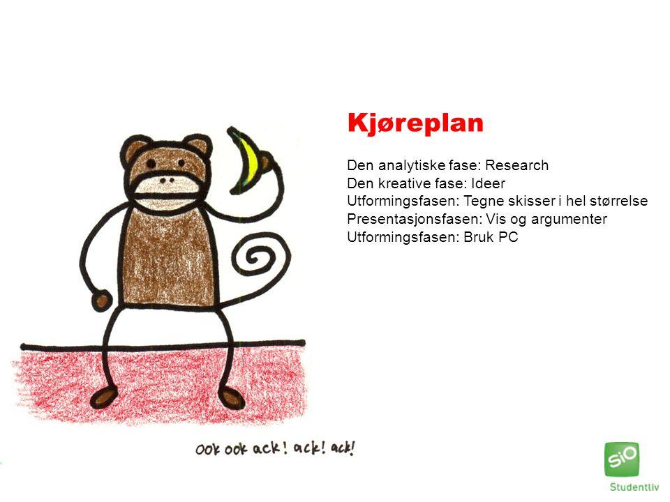 Kjøreplan Den analytiske fase: Research Den kreative fase: Ideer Utformingsfasen: Tegne skisser i hel størrelse Presentasjonsfasen: Vis og argumenter