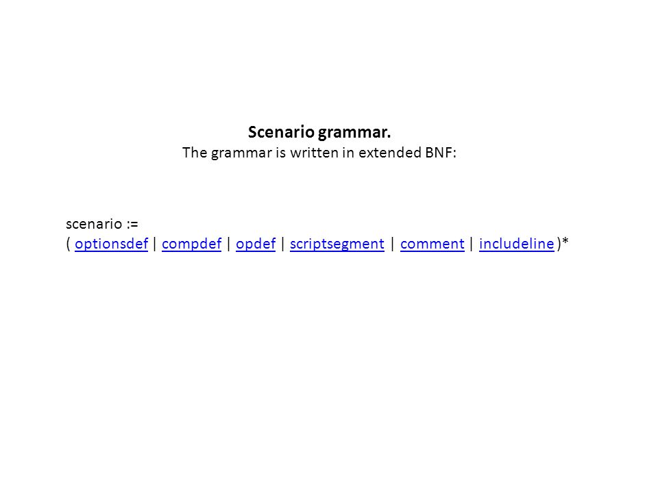 Scenario grammar.