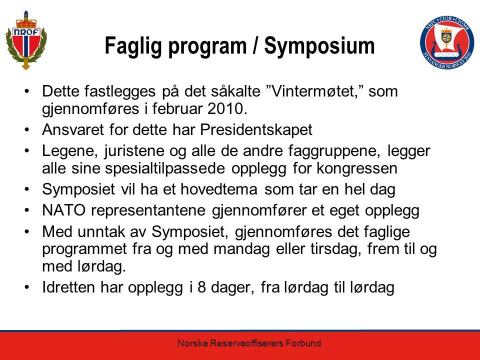 """Norske Reserveoffiserers Forbund Faglig program / Symposium Dette fastlegges på det såkalte """"Vintermøtet,"""" som gjennomføres i februar 2010. Ansvaret f"""