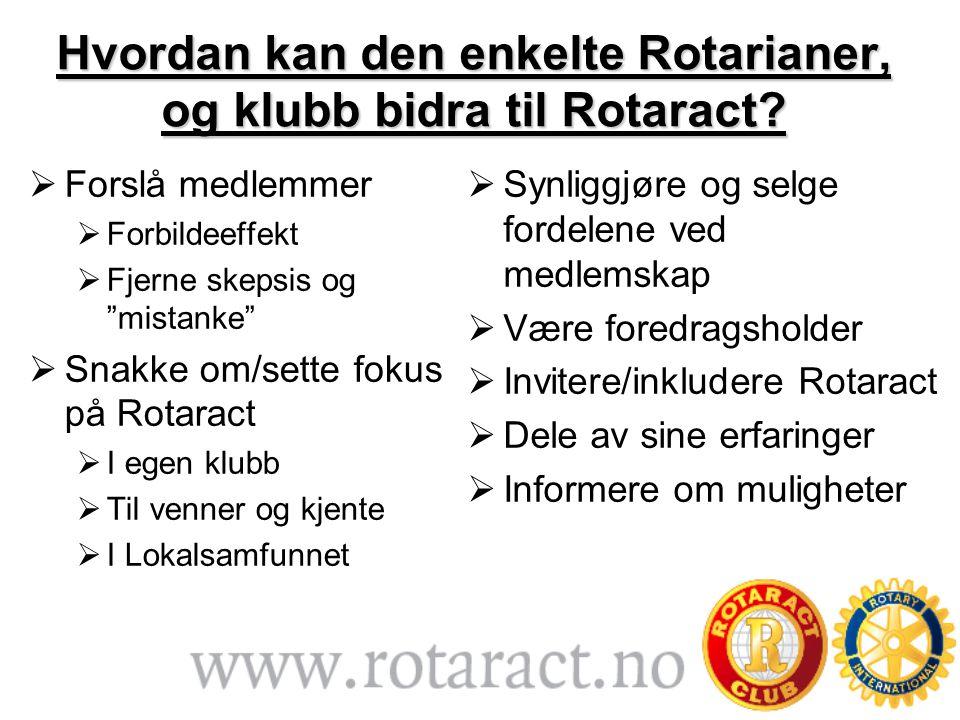 Hvordan kan den enkelte Rotarianer, og klubb bidra til Rotaract.