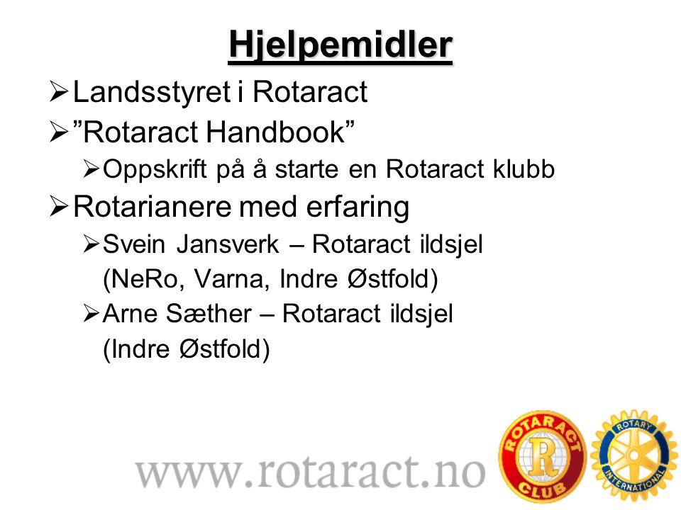 Hjelpemidler  Landsstyret i Rotaract  Rotaract Handbook  Oppskrift på å starte en Rotaract klubb  Rotarianere med erfaring  Svein Jansverk – Rotaract ildsjel (NeRo, Varna, Indre Østfold)  Arne Sæther – Rotaract ildsjel (Indre Østfold)