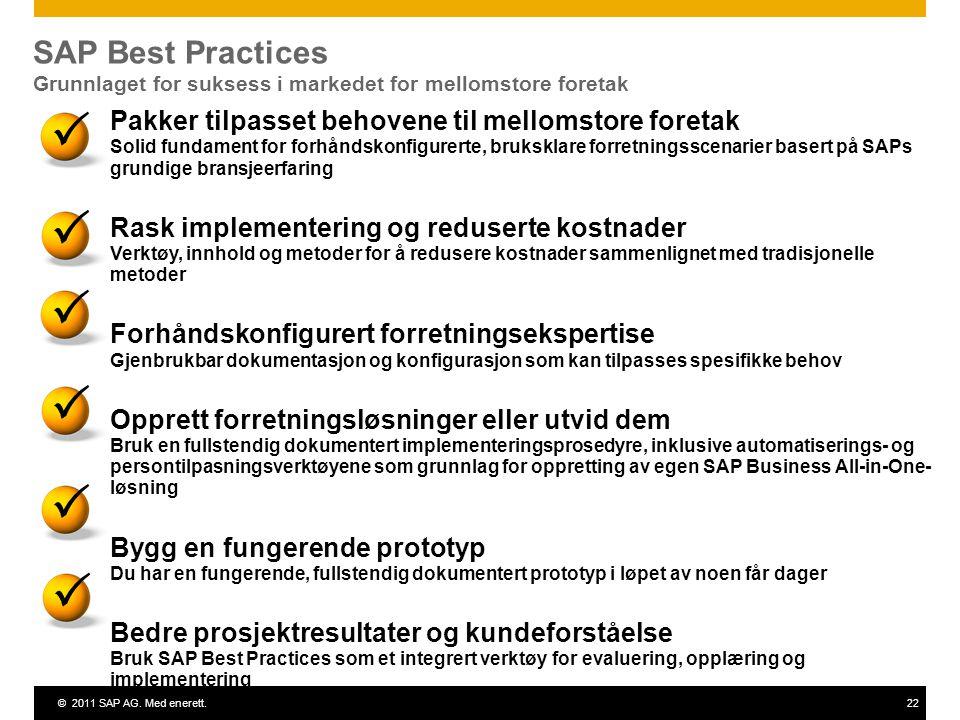 ©2011 SAP AG. Med enerett.22 SAP Best Practices Grunnlaget for suksess i markedet for mellomstore foretak       Pakker tilpasset behovene til me