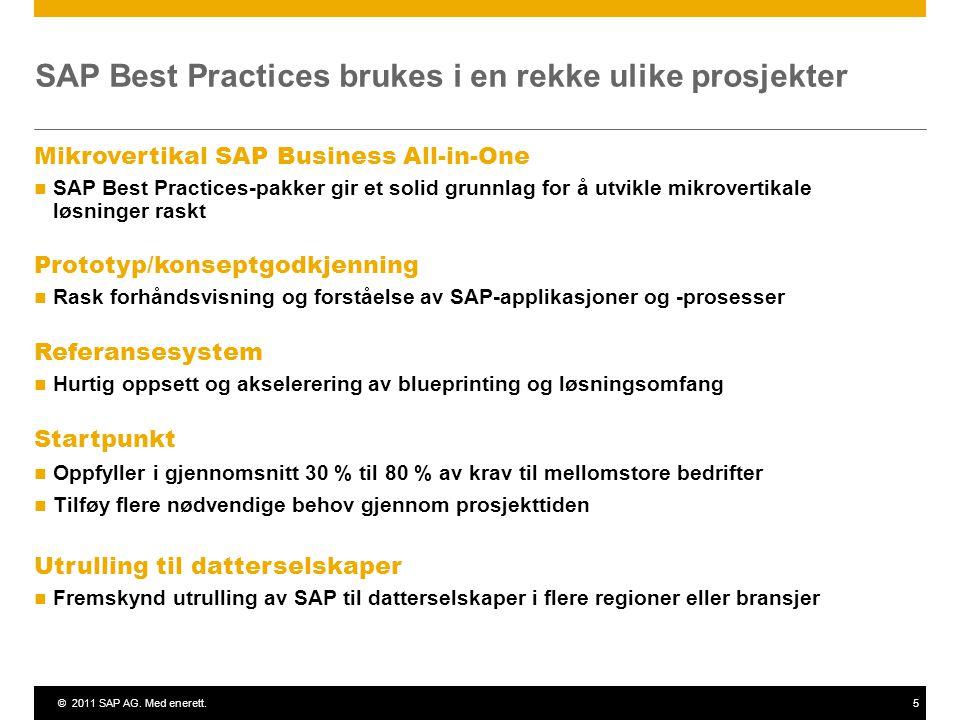 ©2011 SAP AG. Med enerett.5 SAP Best Practices brukes i en rekke ulike prosjekter Mikrovertikal SAP Business All-in-One SAP Best Practices-pakker gir