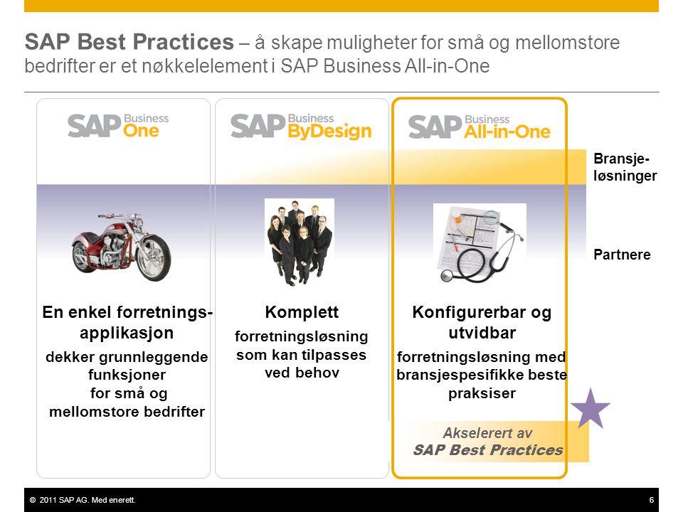 ©2011 SAP AG. Med enerett.6 SAP Best Practices – å skape muligheter for små og mellomstore bedrifter er et nøkkelelement i SAP Business All-in-One Aks