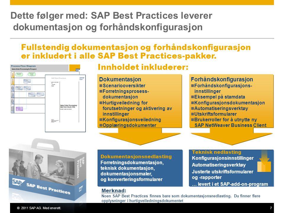 ©2011 SAP AG. Med enerett.7 Dette følger med: SAP Best Practices leverer dokumentasjon og forhåndskonfigurasjon Innholdet inkluderer: Merknad: Noen SA