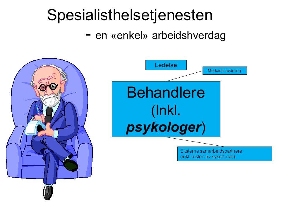 Spesialisthelsetjenesten - en «enkel» arbeidshverdag Ledelse Behandlere (Inkl. psykologer) Merkantil avdeling Eksterne samarbeidspartnere (inkl. reste