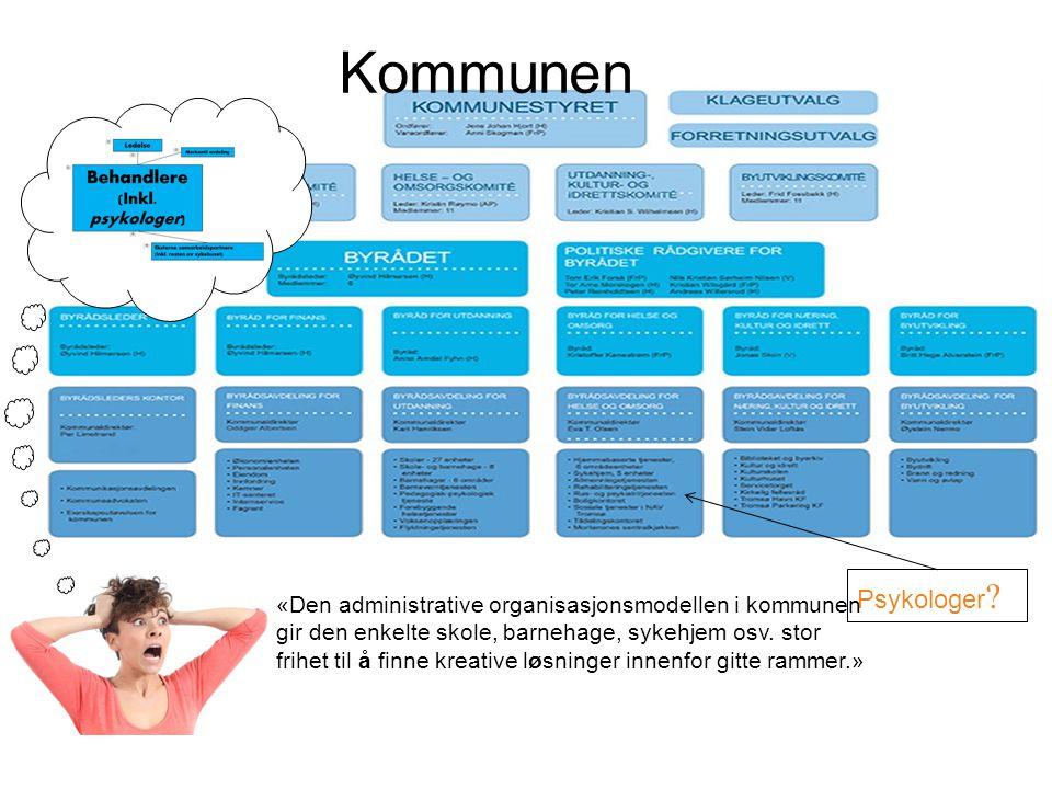 Psykologer ? Kommunen «Den administrative organisasjonsmodellen i kommunen gir den enkelte skole, barnehage, sykehjem osv. stor frihet til å finne kre