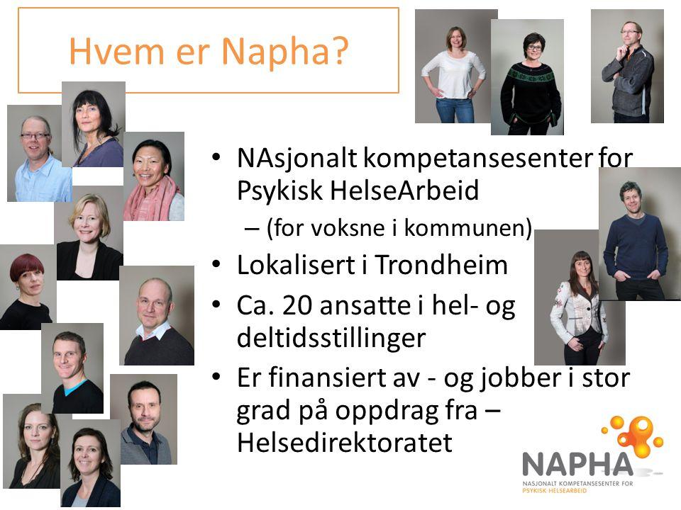 NAsjonalt kompetansesenter for Psykisk HelseArbeid – (for voksne i kommunen) Lokalisert i Trondheim Ca. 20 ansatte i hel- og deltidsstillinger Er fina
