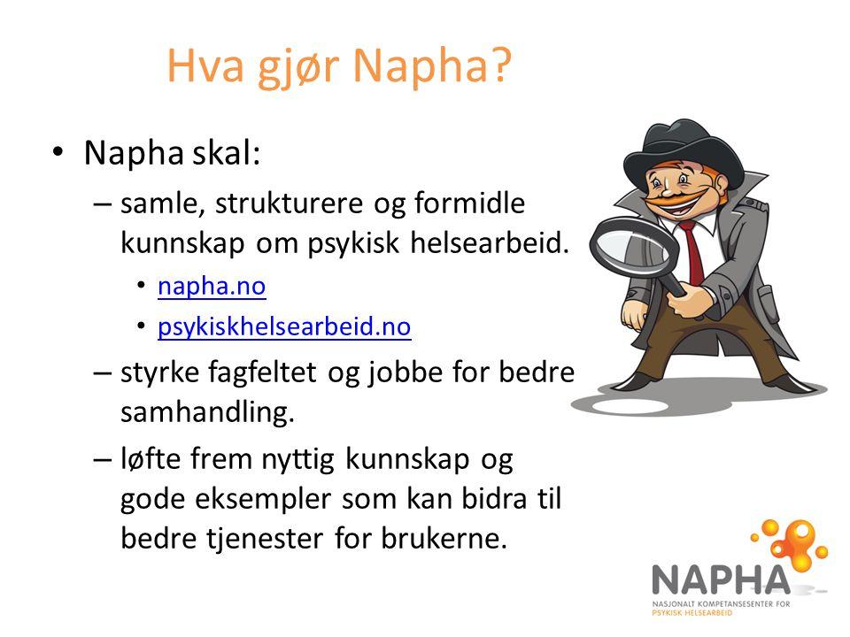 Hva gjør Napha? Napha skal: – samle, strukturere og formidle kunnskap om psykisk helsearbeid. napha.no psykiskhelsearbeid.no – styrke fagfeltet og job