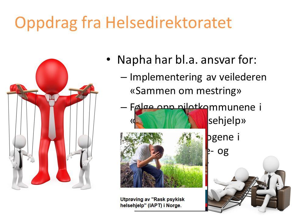 Napha har bl.a. ansvar for: – Implementering av veilederen «Sammen om mestring» – Følge opp pilotkommunene i «Rask psykisk helsehjelp» – Følge opp psy