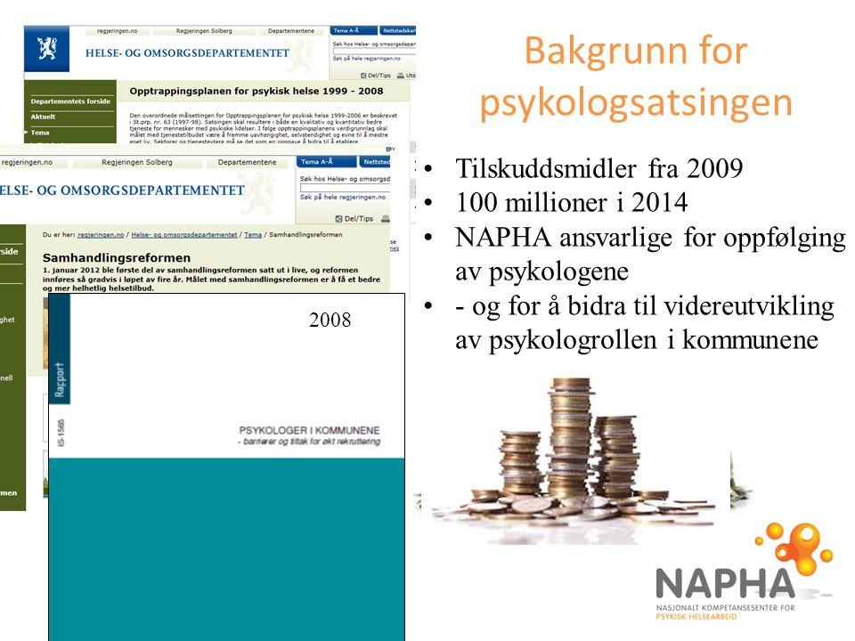 Bakgrunn for psykologsatsingen Tilskuddsmidler fra 2009 100 millioner i 2014 NAPHA ansvarlige for oppfølging av psykologene - og for å bidra til vider