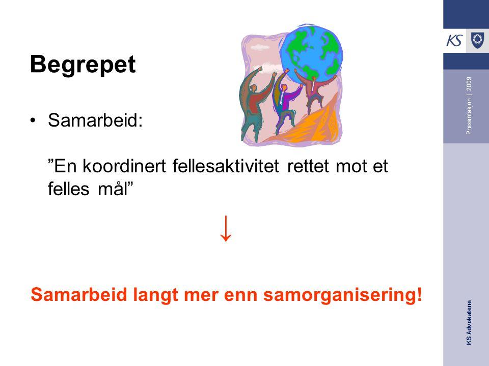KS Advokatene Presentasjon | 2009 Hva er interkommunalt samarbeid.