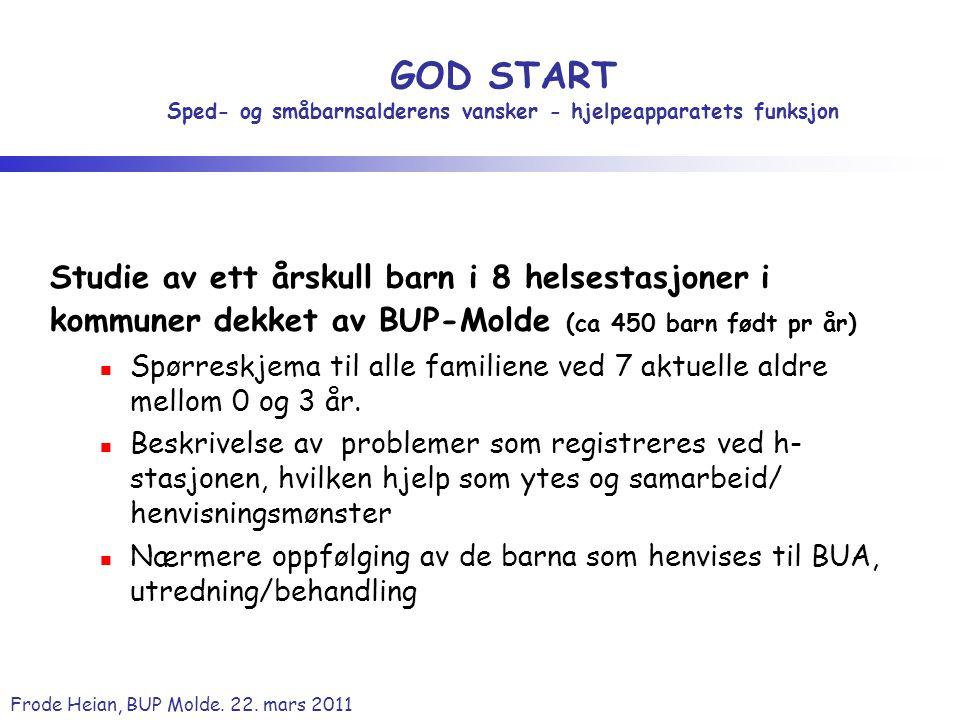 Frode Heian, BUP Molde. 22. mars 2011 GOD START Sped- og småbarnsalderens vansker - hjelpeapparatets funksjon Studie av ett årskull barn i 8 helsestas