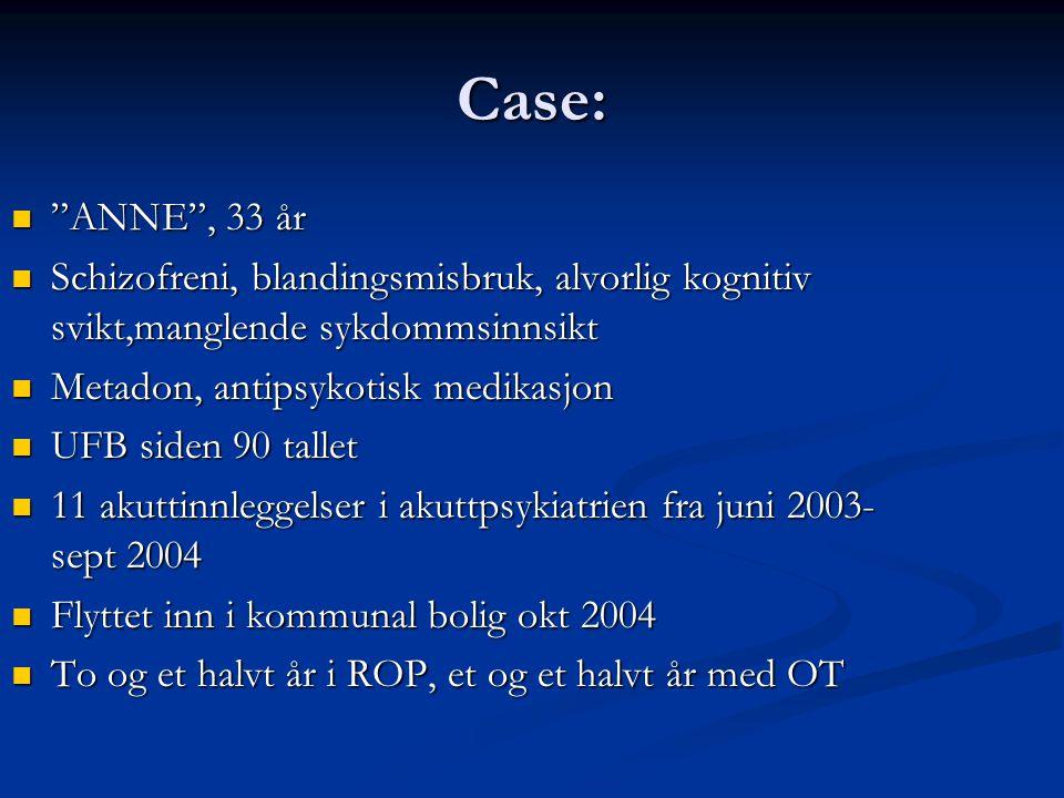 """Case: """"ANNE"""", 33 år """"ANNE"""", 33 år Schizofreni, blandingsmisbruk, alvorlig kognitiv svikt,manglende sykdommsinnsikt Schizofreni, blandingsmisbruk, alvo"""