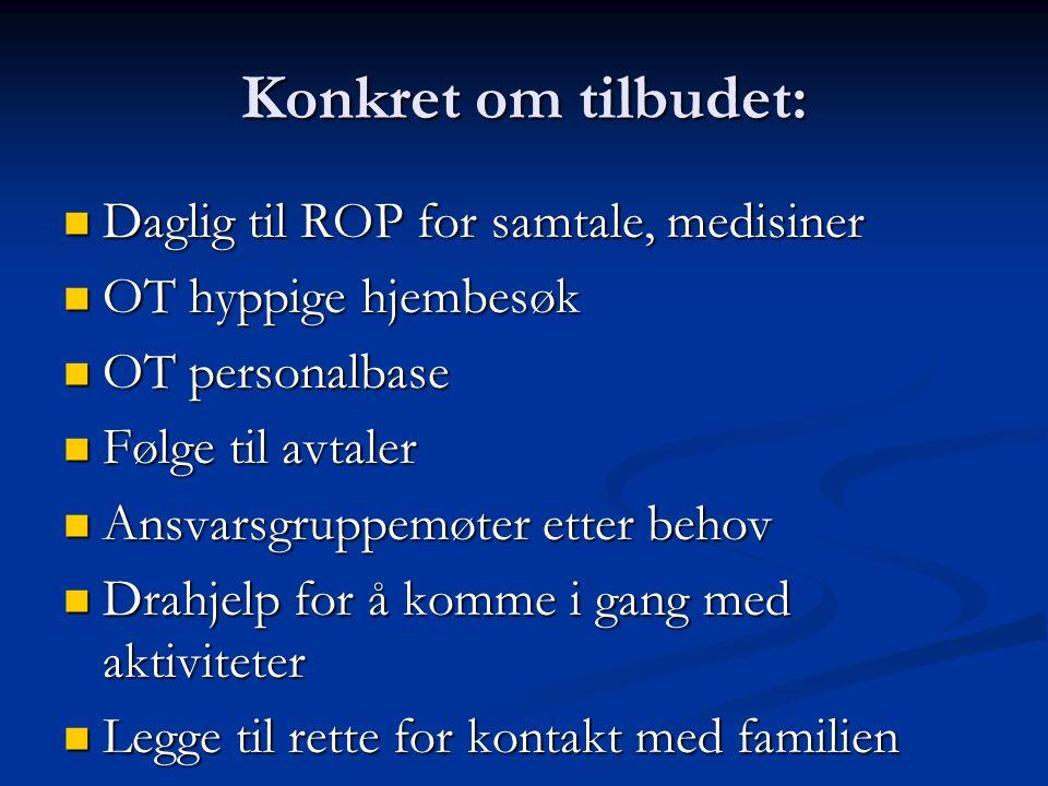Konkret om tilbudet: Daglig til ROP for samtale, medisiner Daglig til ROP for samtale, medisiner OT hyppige hjembesøk OT hyppige hjembesøk OT personal