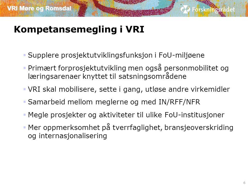 VRI Møre og Romsdal Kompetansemegling i VRI  Supplere prosjektutviklingsfunksjon i FoU-miljøene  Primært forprosjektutvikling men også personmobilitet og læringsarenaer knyttet til satsningsområdene  VRI skal mobilisere, sette i gang, utløse andre virkemidler  Samarbeid mellom meglerne og med IN/RFF/NFR  Megle prosjekter og aktiviteter til ulike FoU-institusjoner  Mer oppmerksomhet på tverrfaglighet, bransjeoverskriding og internasjonalisering 6