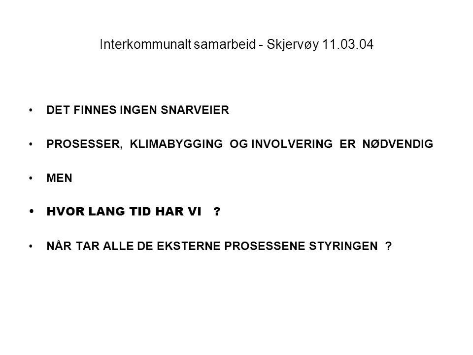 Interkommunalt samarbeid - Skjervøy 11.03.04 DET FINNES INGEN SNARVEIER PROSESSER, KLIMABYGGING OG INVOLVERING ER NØDVENDIG MEN HVOR LANG TID HAR VI ?