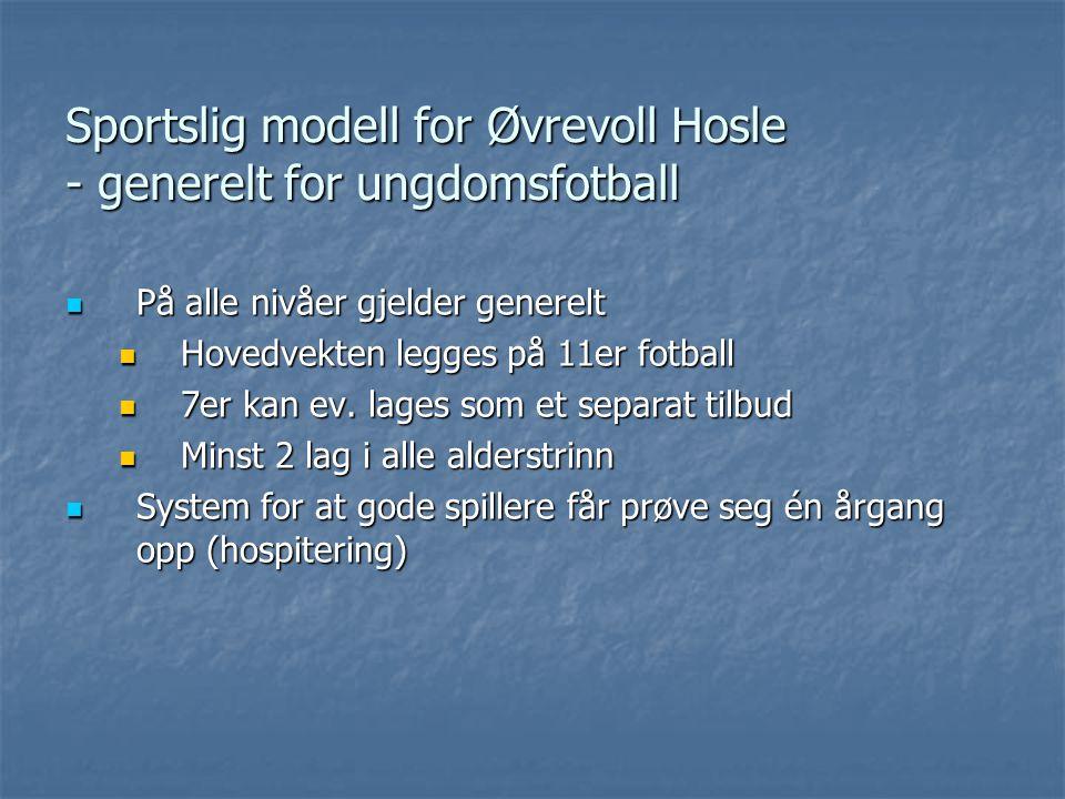 Sportslig modell for Øvrevoll Hosle - generelt for ungdomsfotball På alle nivåer gjelder generelt På alle nivåer gjelder generelt Hovedvekten legges på 11er fotball Hovedvekten legges på 11er fotball 7er kan ev.