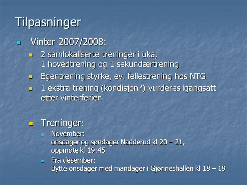 Tilpasninger Vinter 2007/2008: Vinter 2007/2008: 2 samlokaliserte treninger i uka, 1 hovedtrening og 1 sekundærtrening 2 samlokaliserte treninger i uka, 1 hovedtrening og 1 sekundærtrening Egentrening styrke, ev.