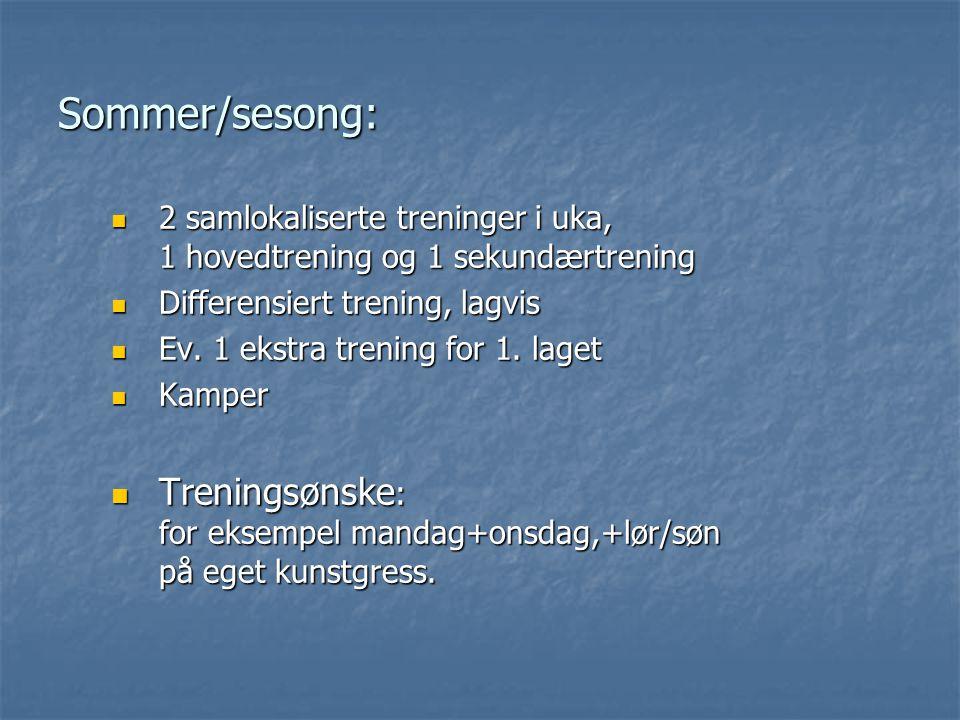 Sommer/sesong: 2 samlokaliserte treninger i uka, 1 hovedtrening og 1 sekundærtrening 2 samlokaliserte treninger i uka, 1 hovedtrening og 1 sekundærtrening Differensiert trening, lagvis Differensiert trening, lagvis Ev.