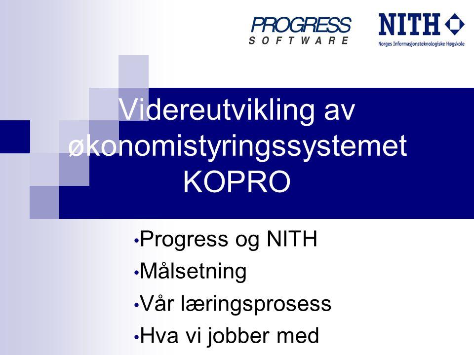 Videreutvikling av økonomistyringssystemet KOPRO Progress og NITH Målsetning Vår læringsprosess Hva vi jobber med