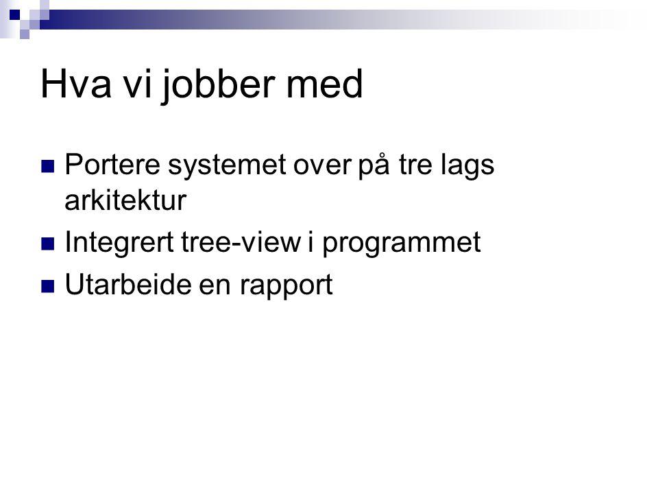 Hva vi jobber med Portere systemet over på tre lags arkitektur Integrert tree-view i programmet Utarbeide en rapport