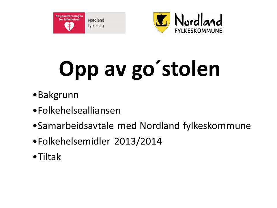 Opp av go´stolen Bakgrunn Folkehelsealliansen Samarbeidsavtale med Nordland fylkeskommune Folkehelsemidler 2013/2014 Tiltak