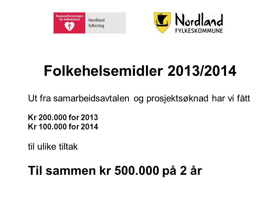 Folkehelsemidler 2013/2014 Ut fra samarbeidsavtalen og prosjektsøknad har vi fått Kr 200.000 for 2013 Kr 100.000 for 2014 til ulike tiltak Til sammen