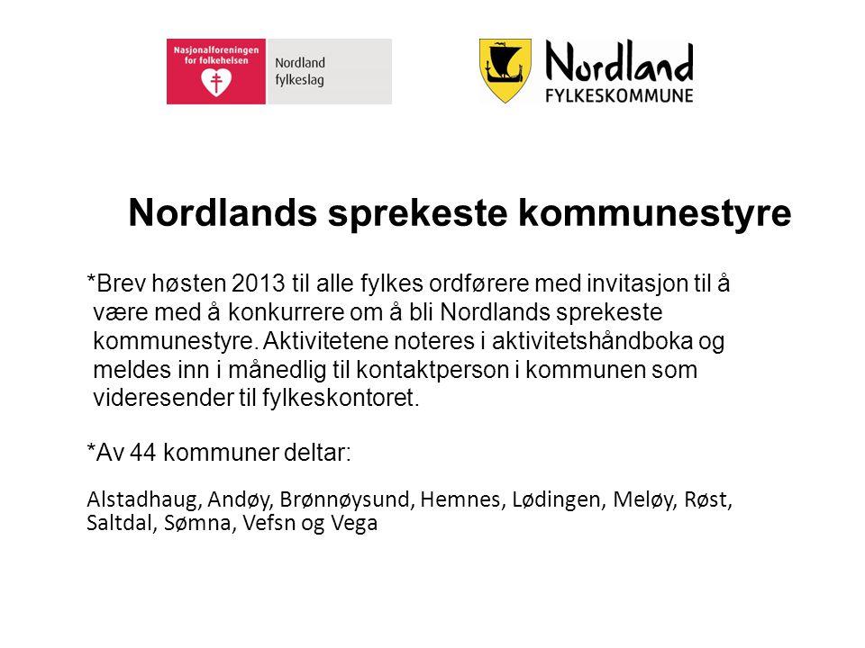 Nordlands sprekeste kommunestyre *Brev høsten 2013 til alle fylkes ordførere med invitasjon til å være med å konkurrere om å bli Nordlands sprekeste k