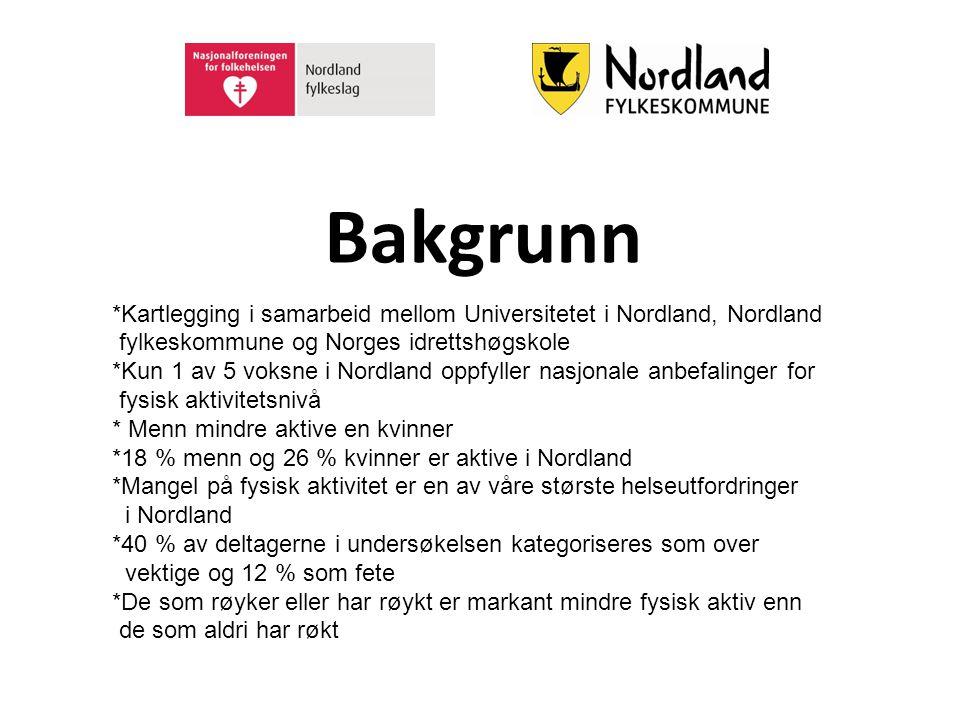 Bakgrunn *Kartlegging i samarbeid mellom Universitetet i Nordland, Nordland fylkeskommune og Norges idrettshøgskole *Kun 1 av 5 voksne i Nordland oppf