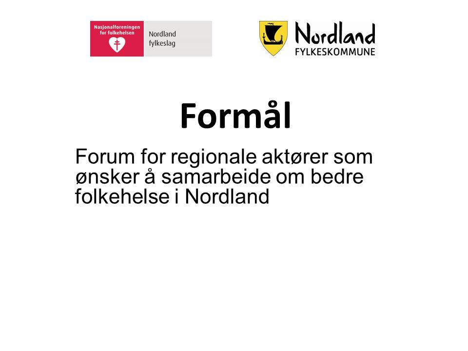 Formål Forum for regionale aktører som ønsker å samarbeide om bedre folkehelse i Nordland
