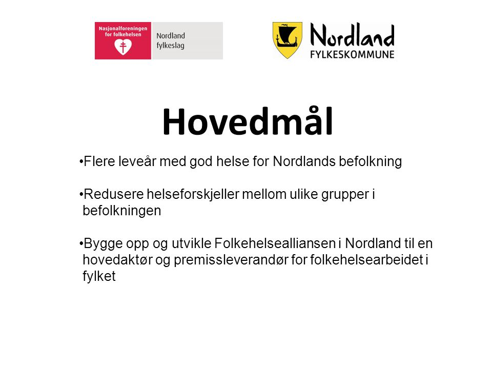 Hovedmål Flere leveår med god helse for Nordlands befolkning Redusere helseforskjeller mellom ulike grupper i befolkningen Bygge opp og utvikle Folkeh