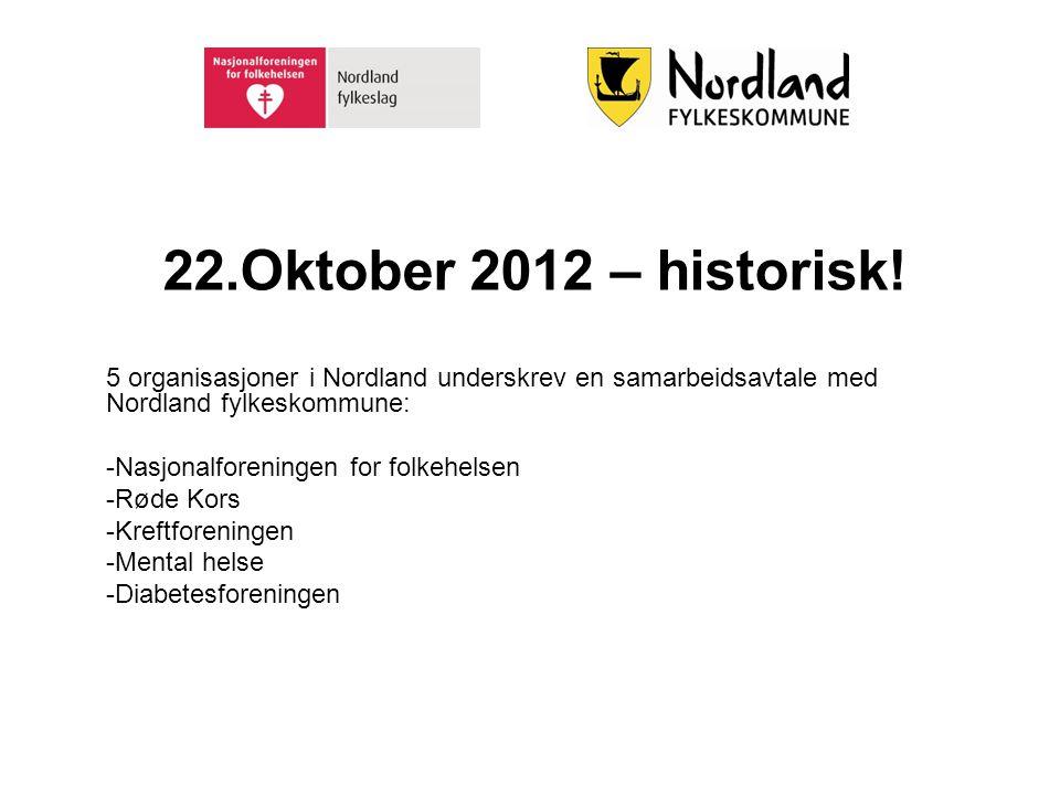 22.Oktober 2012 – historisk! 5 organisasjoner i Nordland underskrev en samarbeidsavtale med Nordland fylkeskommune: -Nasjonalforeningen for folkehelse