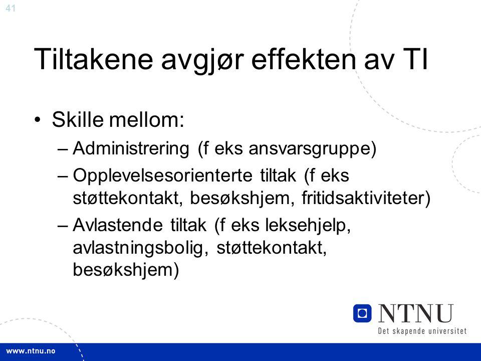 41 Tiltakene avgjør effekten av TI Skille mellom: –Administrering (f eks ansvarsgruppe) –Opplevelsesorienterte tiltak (f eks støttekontakt, besøkshjem