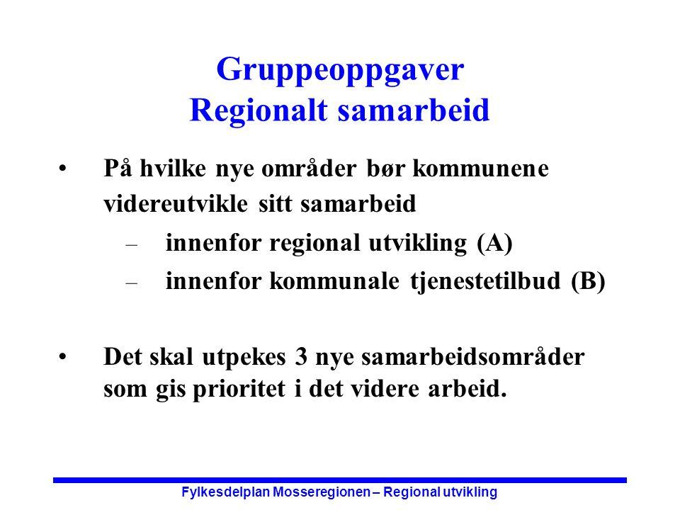 Fylkesdelplan Mosseregionen – Regional utvikling Nye samarbeidsområder Utvidelse av regionrådets oppgaver.