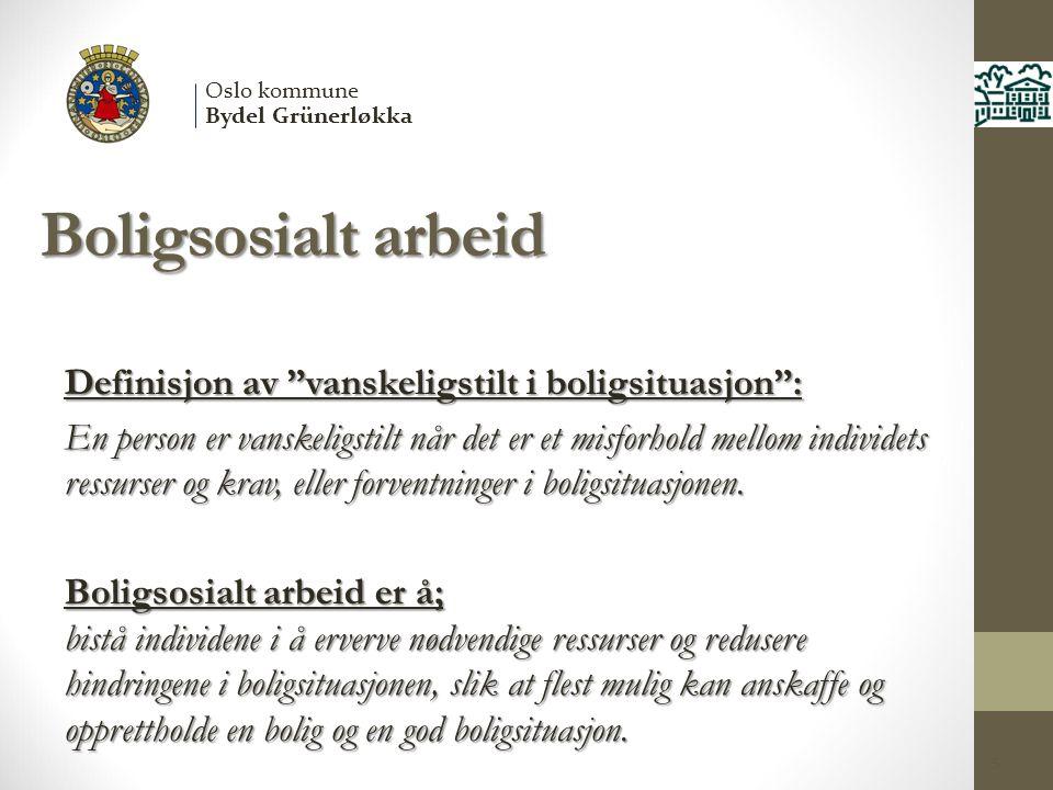 """Boligsosialt arbeid Definisjon av """"vanskeligstilt i boligsituasjon"""": En person er vanskeligstilt når det er et misforhold mellom individets ressurser"""