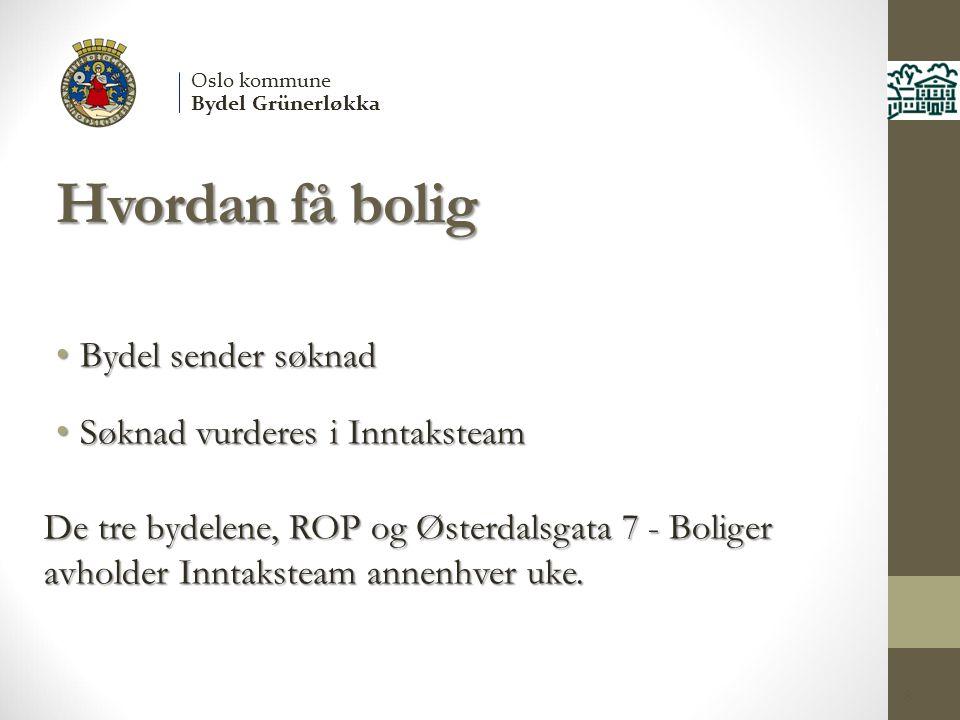 Hvordan få bolig 8 Oslo kommune Bydel Grünerløkka Bydel sender søknad Bydel sender søknad Søknad vurderes i Inntaksteam Søknad vurderes i Inntaksteam De tre bydelene, ROP og Østerdalsgata 7 - Boliger avholder Inntaksteam annenhver uke.