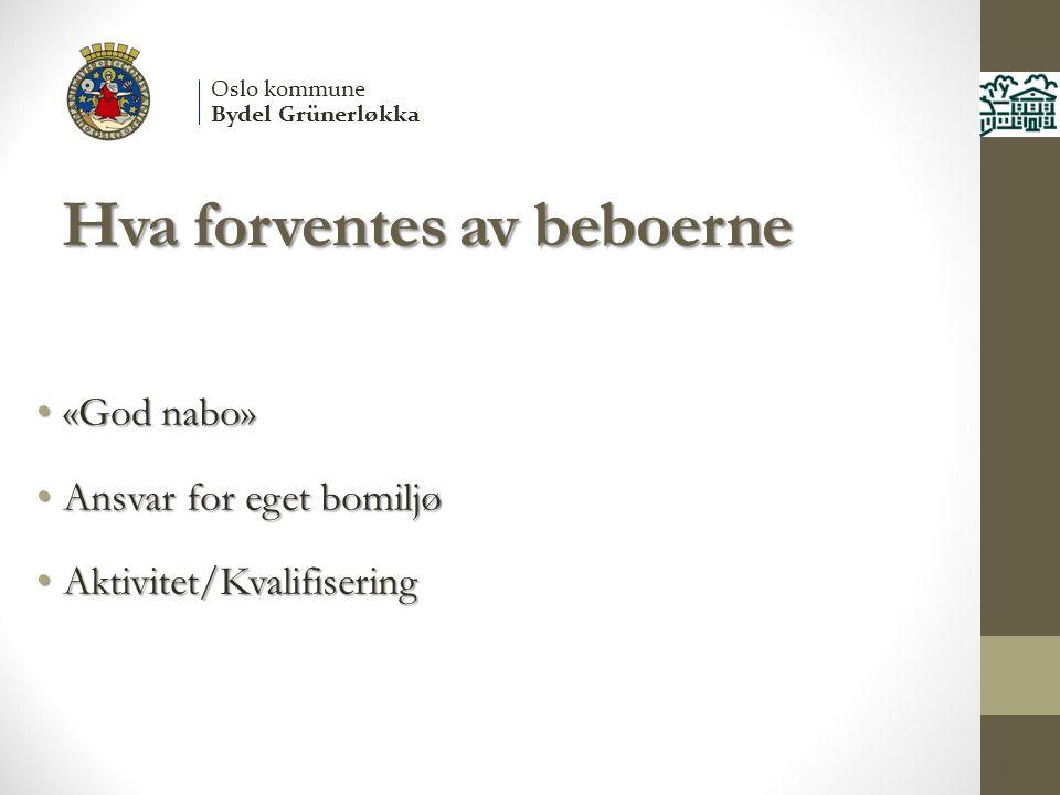Hva forventes av beboerne «God nabo» «God nabo» Ansvar for eget bomiljø Ansvar for eget bomiljø Aktivitet/Kvalifisering Aktivitet/Kvalifisering 9 Oslo kommune Bydel Grünerløkka