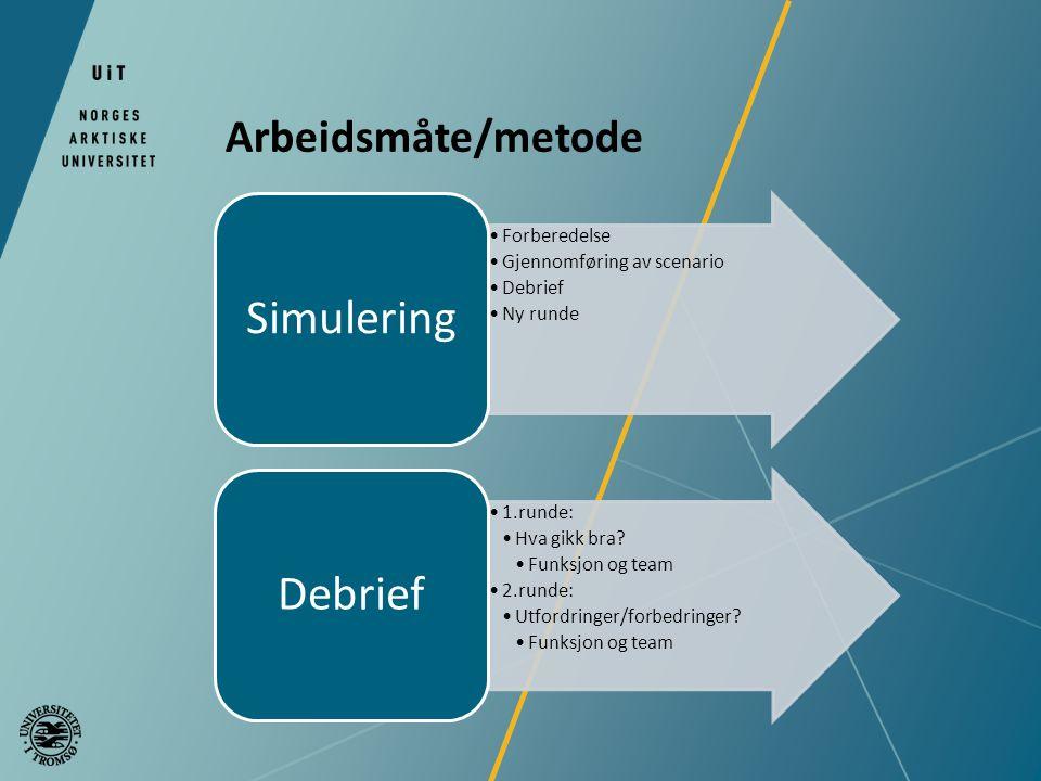 Arbeidsmåte/metode Forberedelse Gjennomføring av scenario Debrief Ny runde Simulering 1.runde: Hva gikk bra.