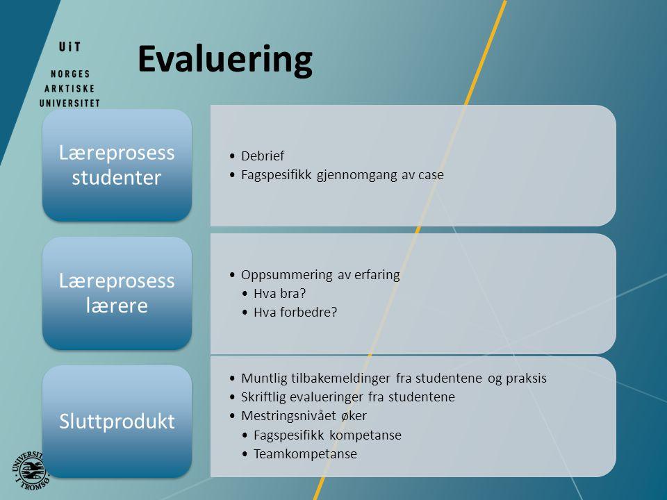 Evaluering Debrief Fagspesifikk gjennomgang av case Læreprosess studenter Oppsummering av erfaring Hva bra.