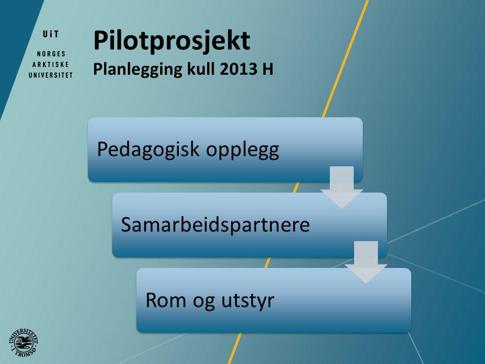Pilotprosjekt Planlegging kull 2013 H Pedagogisk oppleggSamarbeidspartnereRom og utstyr