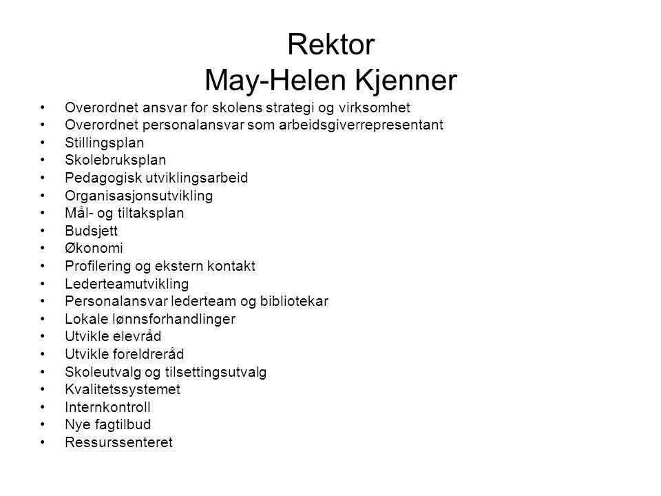 Rektor May-Helen Kjenner Overordnet ansvar for skolens strategi og virksomhet Overordnet personalansvar som arbeidsgiverrepresentant Stillingsplan Sko