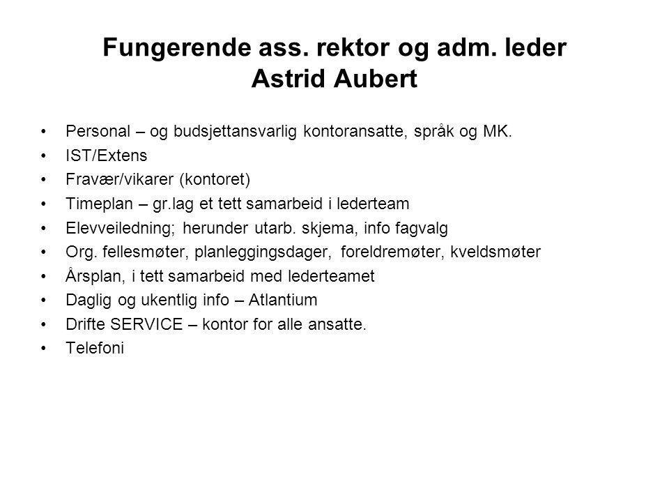 Fungerende ass. rektor og adm. leder Astrid Aubert Personal – og budsjettansvarlig kontoransatte, språk og MK. IST/Extens Fravær/vikarer (kontoret) Ti