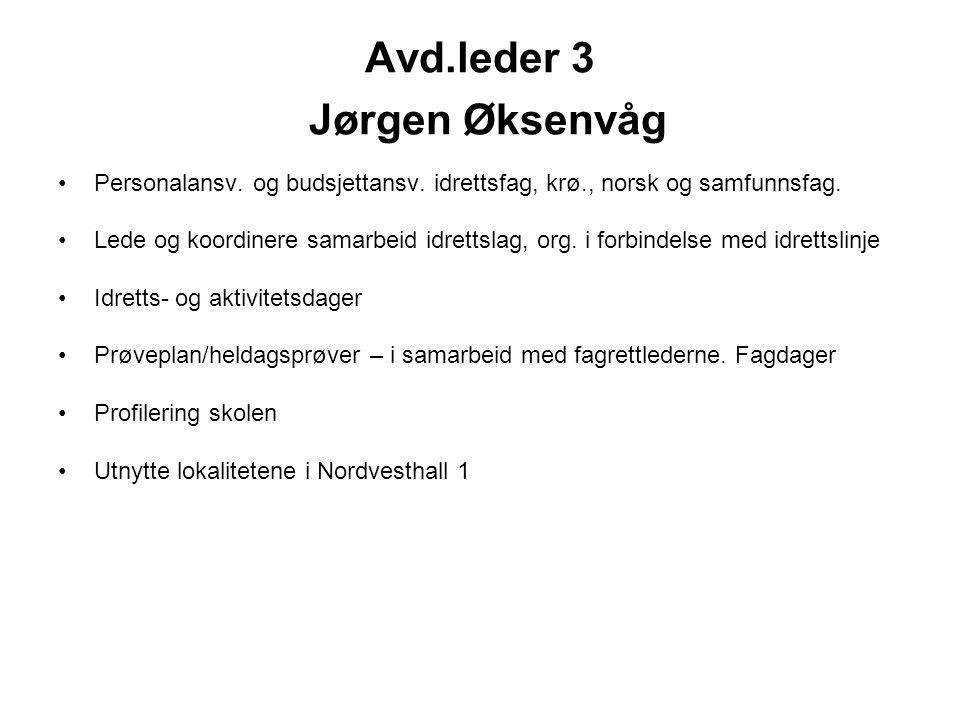 Avd.leder 3 Jørgen Øksenvåg Personalansv. og budsjettansv. idrettsfag, krø., norsk og samfunnsfag. Lede og koordinere samarbeid idrettslag, org. i for