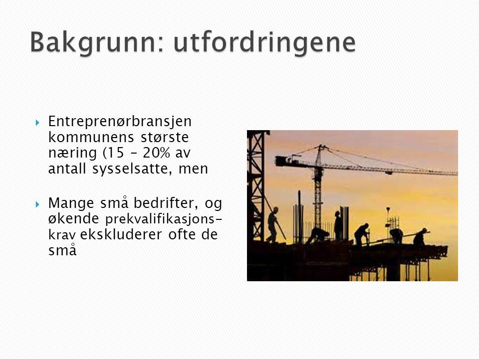  Entreprenørbransjen kommunens største næring (15 – 20% av antall sysselsatte, men  Mange små bedrifter, og økende prekvalifikasjons- krav ekskluderer ofte de små
