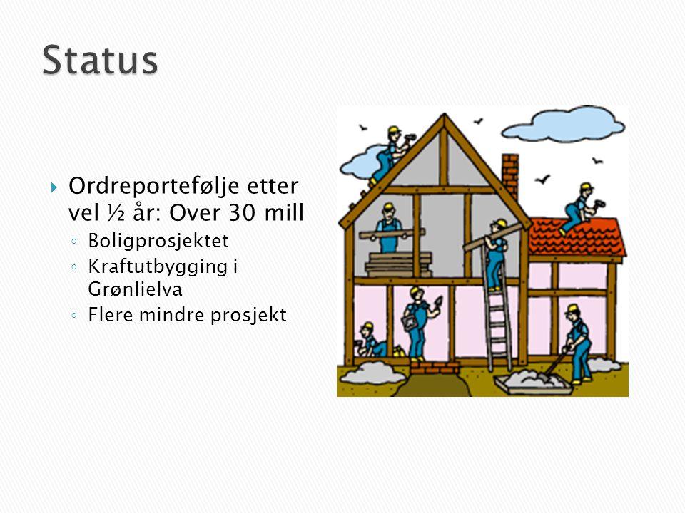  Ordreportefølje etter vel ½ år: Over 30 mill ◦ Boligprosjektet ◦ Kraftutbygging i Grønlielva ◦ Flere mindre prosjekt