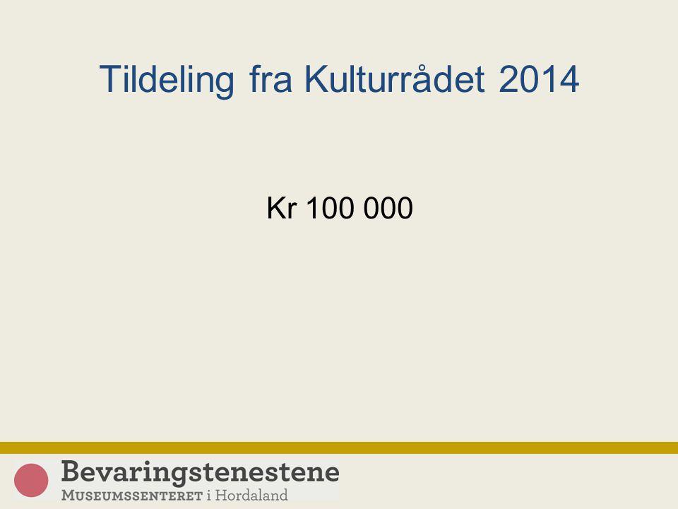 Tildeling fra Kulturrådet 2014 Kr 100 000