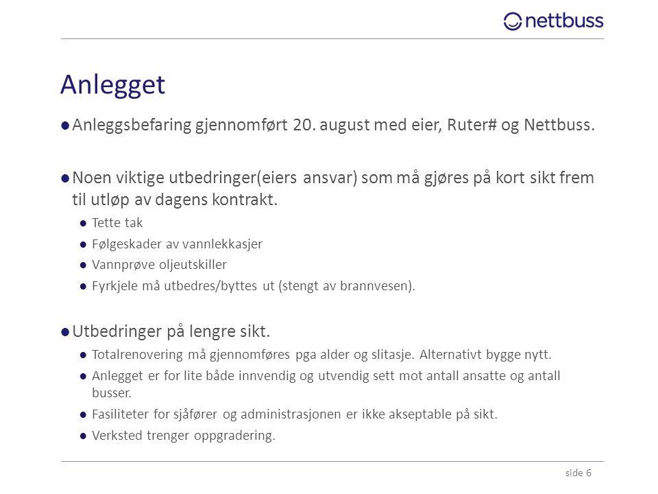 Anlegget ●Anleggsbefaring gjennomført 20. august med eier, Ruter# og Nettbuss. ●Noen viktige utbedringer(eiers ansvar) som må gjøres på kort sikt frem
