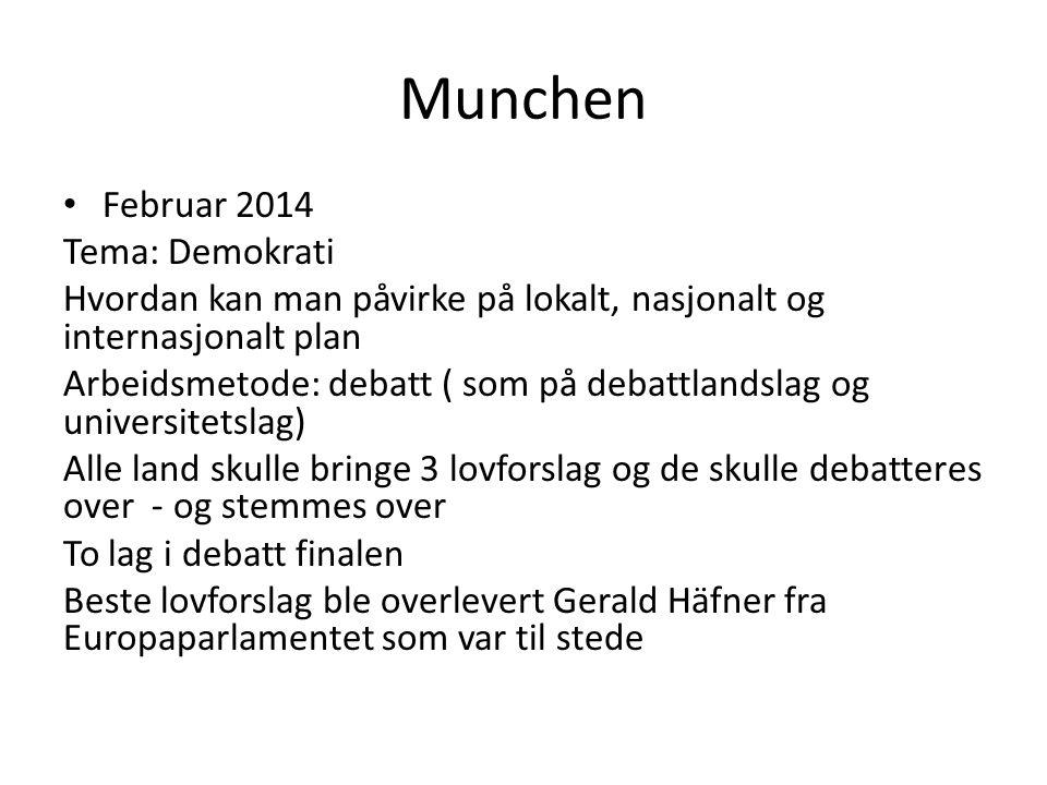 Munchen Februar 2014 Tema: Demokrati Hvordan kan man påvirke på lokalt, nasjonalt og internasjonalt plan Arbeidsmetode: debatt ( som på debattlandslag