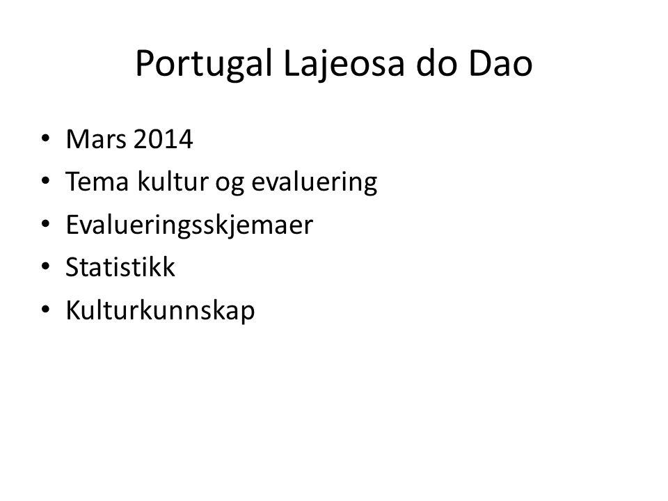 Portugal Lajeosa do Dao Mars 2014 Tema kultur og evaluering Evalueringsskjemaer Statistikk Kulturkunnskap